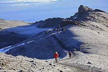 Path from Stella Point to the summit, Mount Kilimanjaro, Tanzania, Africa