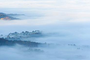 Misty landscape near Balingen, Swabian Alb, Baden-Wuerttemberg, Germany, Europe