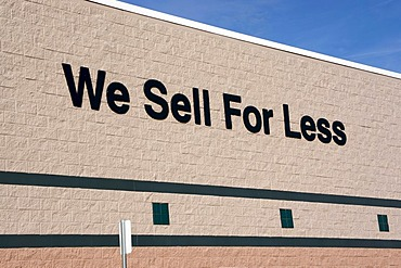 """Lettering """"We Sell For Less"""", Walmart, Florida, United States, USA"""
