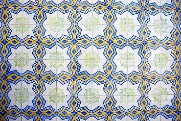 Azulejos, tiles, in the town of Tavira, eastern Algarve, Portugal, Europe