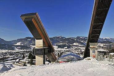 HS106 Normal Hill and HS137 Large Hill ski jumps, Schattenbergschanze ski jumping hill, Erdinger Arena, Oberstdorf, Upper Allgaeu, Bavaria, Germany, Europe, PublicGround