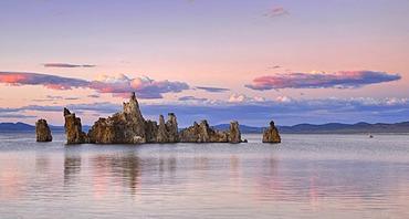 Parachute Tufa with osprey (Pandion haliaetus) on the nest, dusk, tufa rocks, tufa formations, South Tufa Area, Mono Lake, saline lake, Mono Basin and Range Region, Sierra Nevada, California, United States of America, USA