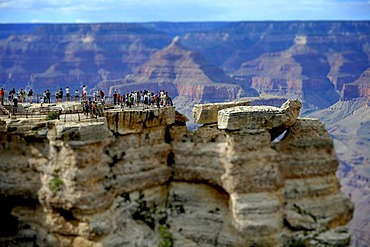 Miniature view, toy view, tilt-shift-effect, tourists on the lookout at Mather Point, Isis Temple at back Grand Canyon National Park, South Rim, Arizona, United States of America, USA