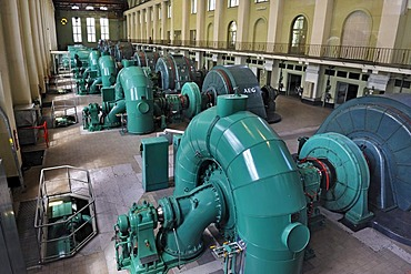 Hall with turbines and generators, Walchensee Power Plant, Bavaria, Germany, Europe