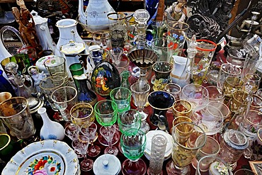 Glass and porcelain, Auer Dult market, Munich, Bavaria, Germany, Europe