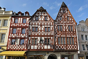 Half-timbered houses in Hauptmarkt square, Trier, Rhineland-Palatinate, Germany, Europe