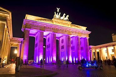 Festival of Lights, Brandenburg Gate, at night, Mitte quarter, Berlin, Germany, Europe