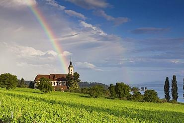 Rainbow over the Birnau pilgrimage church on Lake Constance, Lake Constance area, Baden-Wuerttemberg, Germany, Europe, PublicGround