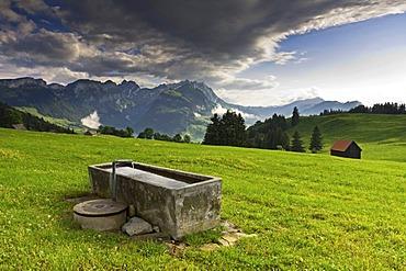 Well below Mt Faehnerenspitz, 1505m, facing the Alpstein massif, changing weather, Appenzell Innerrhoden or Inner Rhodes, Switzerland, Europe, PublicGround