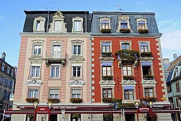Hotel, restaurant, facades, historic district, Belfort, Franche-Comte, France, Europe, PublicGround