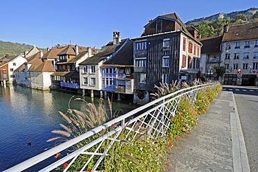 Flowers, bridge across the Loue River, village, Ornans, Besancon, departement of Doubs, Franche-Comte, France, Europe, PublicGround