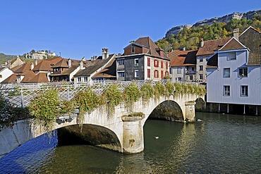 Bridge across the Loue River, decorated with flowers, village, Ornans, Besancon, departement of Doubs, Franche-Comte, France, Europe, PublicGround
