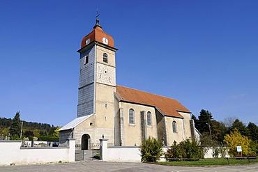 Notre-Dame de l'Assomption Church, Evillers, Pontarlier, departement of Doubs, Franche-Comte, France, Europe, PublicGround