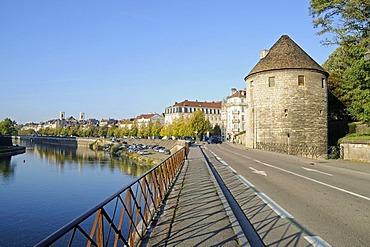 Tour de la Pelote, city tower, city walls, river bank, Quai de Strasbourg, Besancon, department of Doubs, Franche-Comte, France, Europe, PublicGround