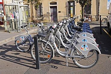 Rental bikes, Dijon, Cote-d'Or, Bourgogne, Burgundy, France, Europe, PublicGround
