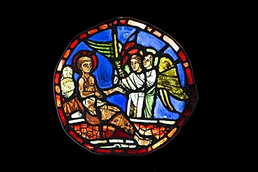 Stained glass roundel depicting St Vincent being consoled by angels, made between about 1225-1250 by a French artist, Stained Glass Museum in Ely Cathedral, Ely, England, United Kingdom, Europe