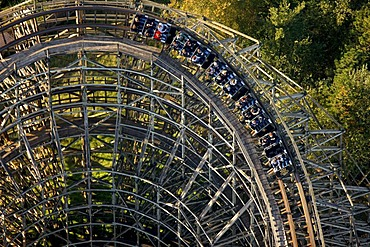 Aerial view, wooden roller coaster, The Bandit, Movie Park Germany, amusement park, Bottrop Kirchhellen, Ruhr Area, North Rhine-Westphalia, Germany, Europe