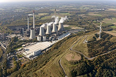 Aerial view, Scholven power plant, E.ON coal-fired power plant, Gelsenkirchen-Buer, Ruhr Area, North Rhine-Westphalia, Germany, Europe