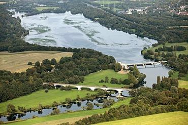 Aerial view, Kemnade reservoir with algal bloom, Hattingen, Ruhr Area, North Rhine-Westphalia, Germany, Europe