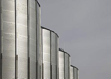 Grain silos, Neuenstein, Hohenlohe, Baden-Wuerttemberg, Germany, Europe