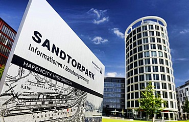 Sandtorpark and the International Coffee Plaza office tower in HafenCity, Hamburg, Germany, Europe