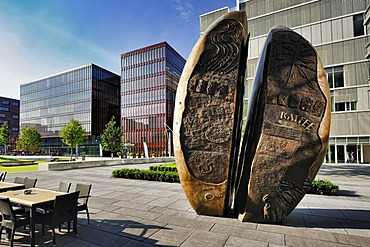Sculpture of a coffee bean at the International Coffee Plaza in the Hafencity district, Hamburg, Germany, Europe