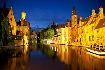 Rozenhoedkaai, Quay of the rosary with Belfort tower, Bruges, Brugge, UNESCO World Heritage Site, Flanders, Belgium, Europe