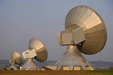 Satellite dishes of Erdfunkstelle Raisting, satellite earth station, Upper Bavaria, Germany, Europe