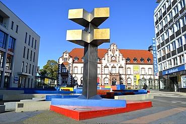 Synagogenplatz square, Kunstmuseum Muelheim an der Ruhr, art museum, in the Alte Post building, former postal building, listed building, Muelheim an der Ruhr, Ruhr Area, North Rhine-Westphalia, Germany, Europe, PublicGround