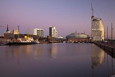 Twilight, Neuer Hafen harbour, Klimahaus building, Conference Center, Sail City, Havenwelten, Bremerhaven, Weser River, North Sea, Lower Saxony, Germany, Europe, PublicGround