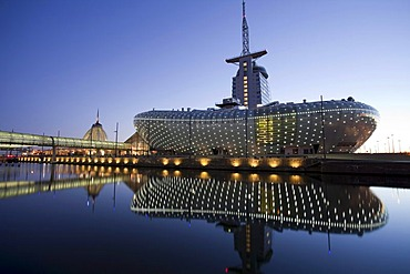 Klimahaus building, Conference Center, Sail City, Havenwelten, twilight, Bremerhaven, Weser River, North Sea, Lower Saxony, Germany, Europe, PublicGround