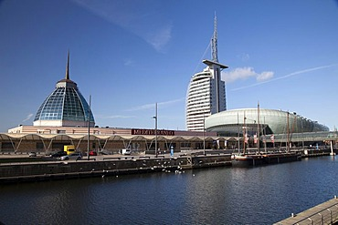 Klimahaus building, Mediterraneo shopping mall, Conference Center, Sail City, Havenwelten, Bremerhaven, Weser River, Lower Saxony, Germany, Europe, PublicGround