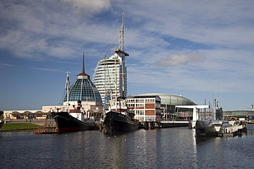 Museumshafen habour, Klimahaus building, Mediterraneo shopping mall, Conference Center, Sail City, Havenwelten, Bremerhaven, Weser River, North Sea, Lower Saxony, Germany, Europe, PublicGround