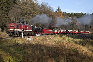 Brockenbahn railway on the way to the Brocken, Harz narrow-gauge railways, HSB, Drei-Annen-Hohne, Brocken Mountain, Harz National Park, Saxony-Anhalt, Germany, Europe, PublicGround
