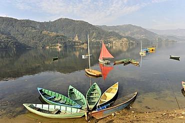 Rowing boats, view of the Phewa Lake, Pokhara, Nepal, Asia