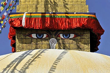 Bodnath, Boudhanath or Boudha Stupa, UNESCO World Heritage Site, painted eyes, colourful prayer flags, Tibetan Buddhism, Kathmandu, Kathmandu Valley, Nepal, Asia