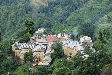 Houses, hilly landscape, highland near Nagarkot, Bhaktapur, Kathmandu Valley, Nepal, Asia