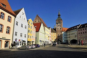 Schmalzturm, historic tower, at the central town square in the historic town of Landsberg am Lech, Upper Bavaria, Germany, Europe