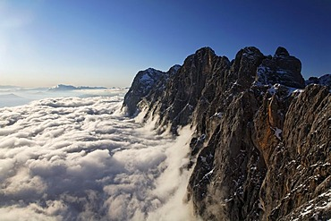 Hoher Dachstein mountain, view from the summit station of the cableway on Hunerkogel mountain, Dachstein Mountains, Ramsau, Styria, Austria, Europe