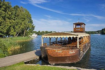 Boat on Galve Lake near Trakai Island Castle, Trakai Historical National Park, Lithuania, Europe
