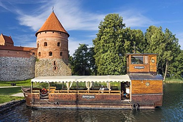 Boat off Trakai Island Castle, Trakai Historical National Park, Lithuania, Europe