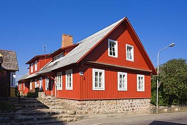 Historical wooden house in Karaimu Street, Trakai, Trakai Historical National Park, Lithuania, Europe