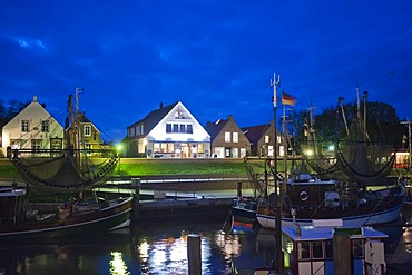 Greetsiel at night, East Frisia, Lower Saxony, Germany, Europe