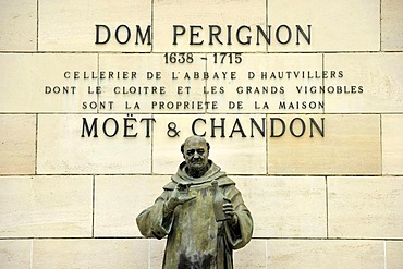 Statue of DomPerignon, Moet & Chandon winery, headquarters, luxury goods group LVMH, Louis Vuitton Moet Hennessy, epernay, Champagne, Marne, France, Europe, PublicGround