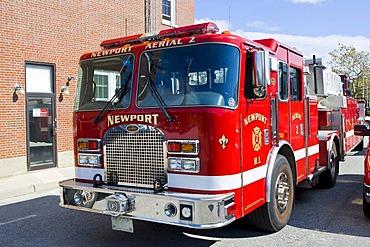 Fire truck in Newport, Rhode Island, New England, USA