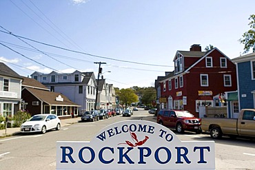 Welcome sign of the small fishing village of Rockport, Massachusetts, New England, USA