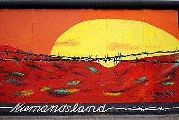 Niemandsland, No Man's Land, by Carmen Leidner, painting on the Berlin Wall, East Side Gallery, Berlin, Germany, Europe