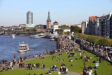 Rhine river bank, old town, Rhine ships, St. Lambertus church, Schlossturm tower, Duesseldorf, North Rhine-Westphalia, Germany, Europe