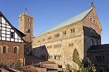 Wartburg castle near Eisenach, courtyard with great hall and keep, Thueringer Wald, Thuringia, Germany, Europe