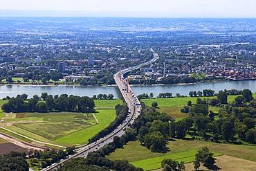 Aerial view, Bonn, highway bridge, Friedrich-Ebert Bridge, facing west, Rhine River, Rhineland, North Rhine-Westphalia, Germany, Europe